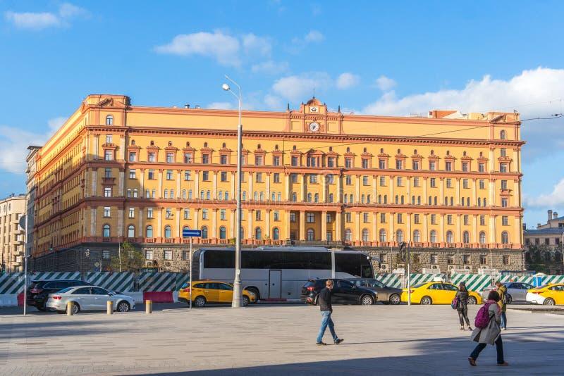 由FSB和克格勃的卢比扬卡广场在历史铈总部设 库存图片