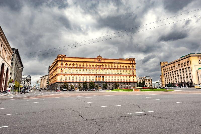 由FSB和克格勃总部的Lubyanka广场 免版税库存图片