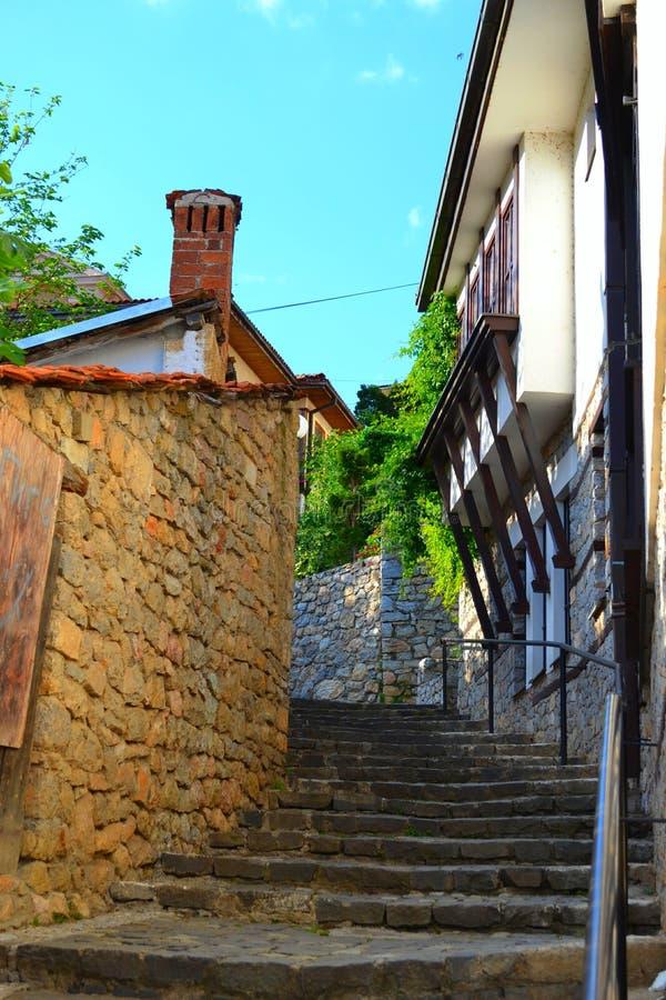 由Ohrid湖的美丽的台阶 免版税库存照片