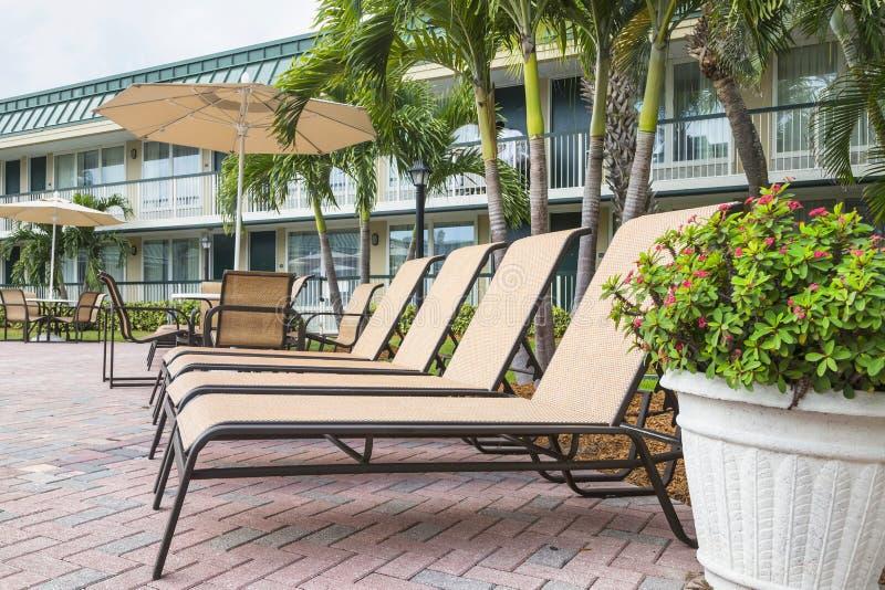 由poolwith棕榈的四个太阳懒人 佛罗里达 免版税库存照片