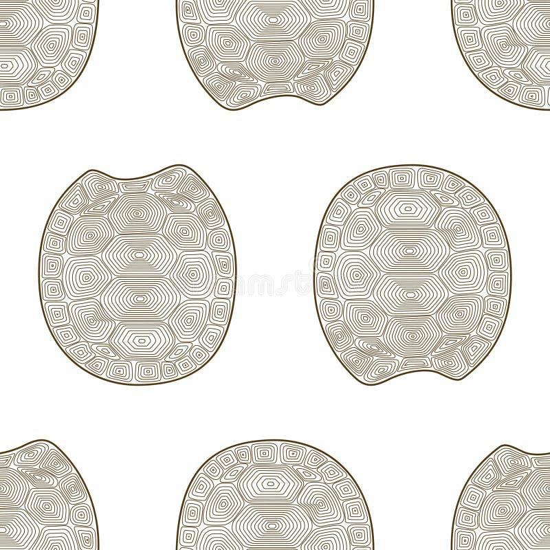 甲壳乌龟禅宗缠结无缝的样式 彩图野生生物动物 墙纸壳草龟 向量例证