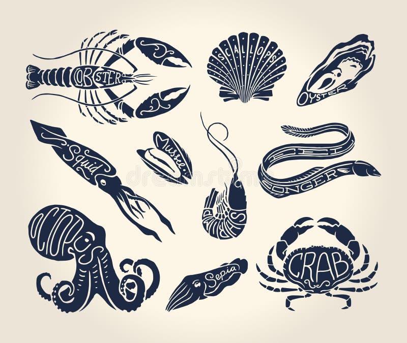 甲壳纲、贝壳和头足纲动物的葡萄酒例证与名字 向量例证