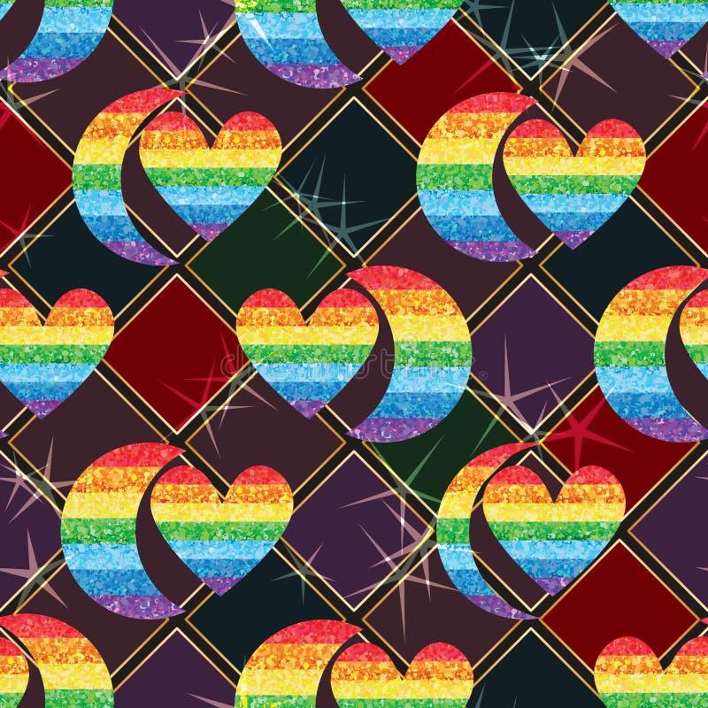 甲晕爱彩虹闪烁对称对无缝的样式作用 向量例证