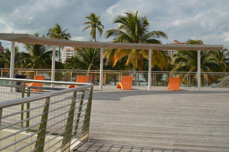 甲板,南Pointe公园,南海滩,佛罗里达 免版税图库摄影
