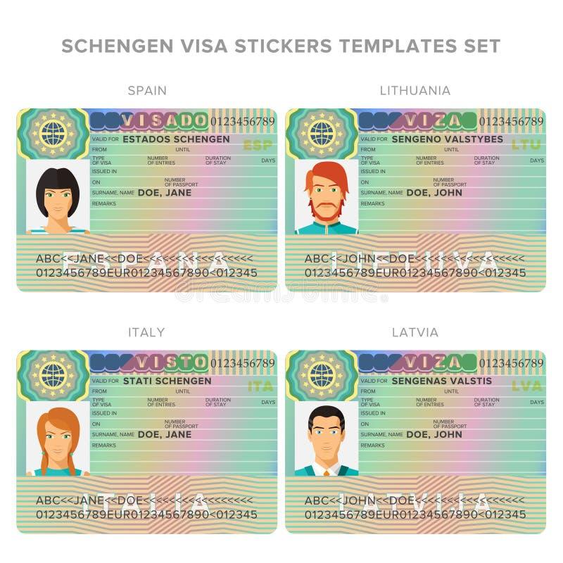申根签证护照西班牙、立陶宛、意大利和拉脱维亚集合的贴纸模板 库存例证