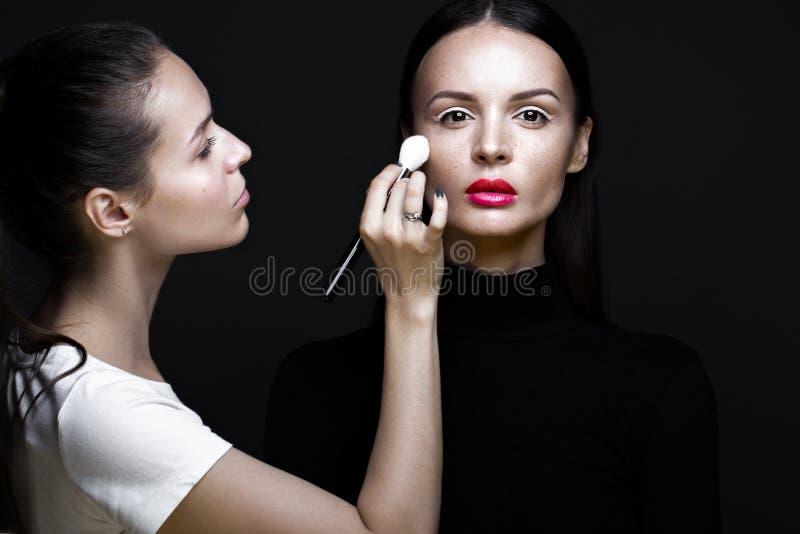 申请面孔构成的照片写真的两个美丽的女孩 秀丽时装模特儿 库存图片