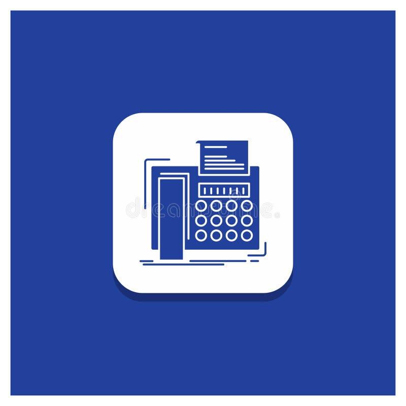 电传的,消息,电话,电传,通信纵的沟纹象蓝色圆的按钮 向量例证