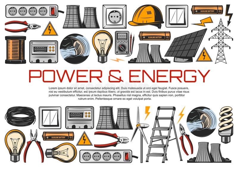 电力导线,能量米,电灯泡 库存例证