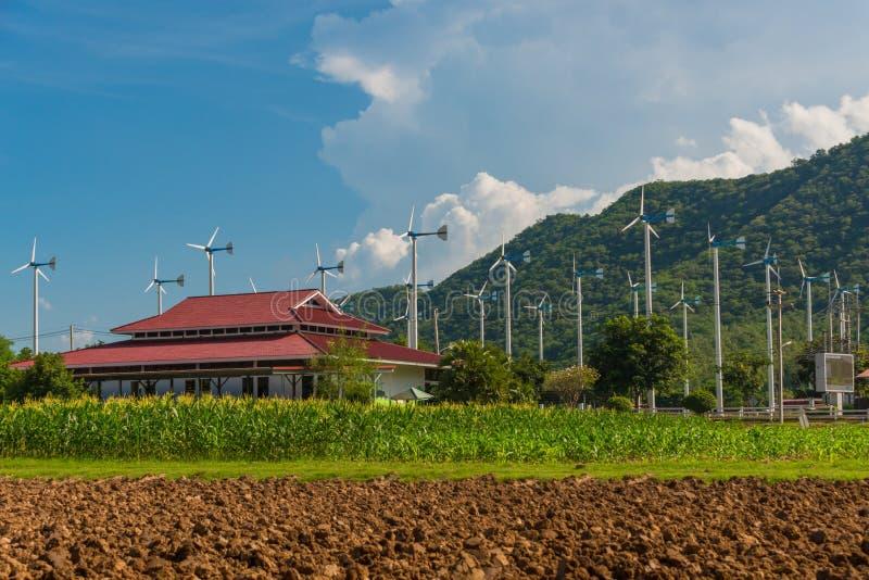 电力生产的风车在皇家主动的项目 免版税库存图片