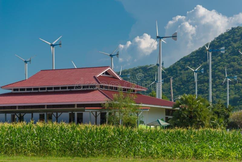电力生产的风车在皇家主动的项目 库存照片