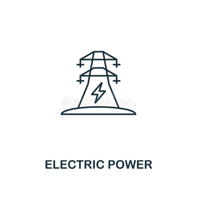 电力象概述样式 从力量和能量象汇集的优质图表设计 简单的稀薄的线元 选择 向量例证