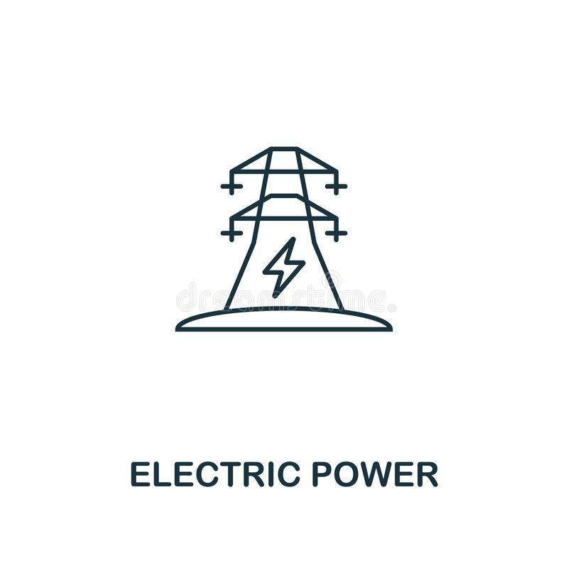 电力象概述样式 从力量和能量象汇集的优质图表设计 简单的稀薄的线元 选择 库存例证