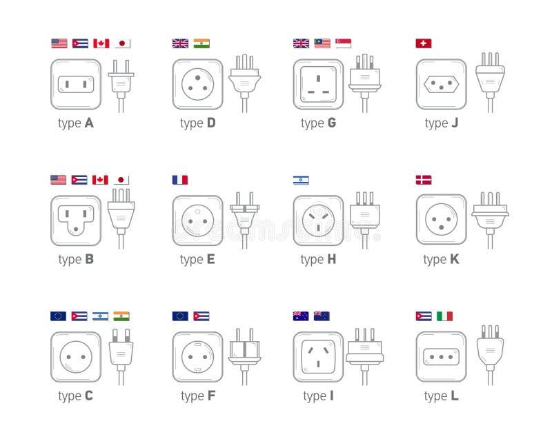 电力输出例证 另外类型电源插座集合,另外国家的象例证塞住 向量例证