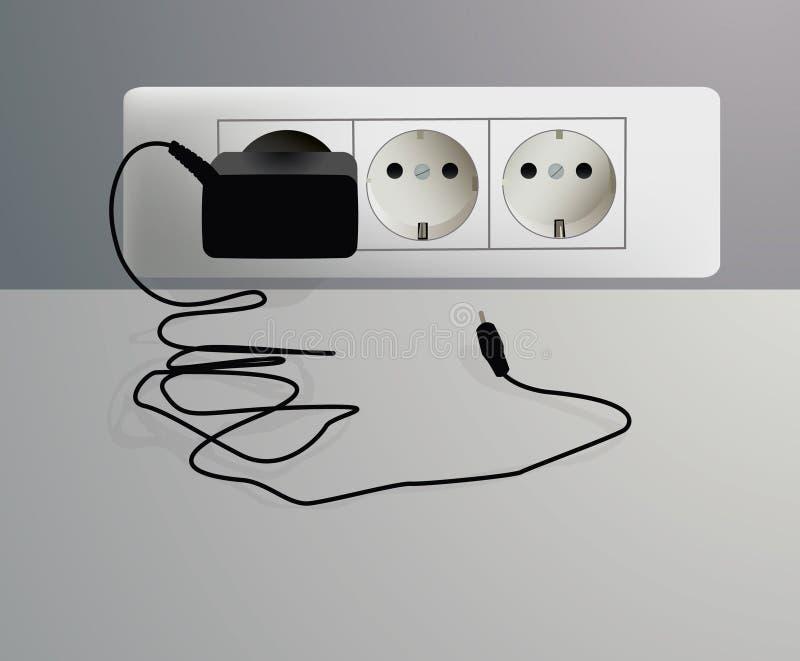 电力输出墙壁 免版税库存图片
