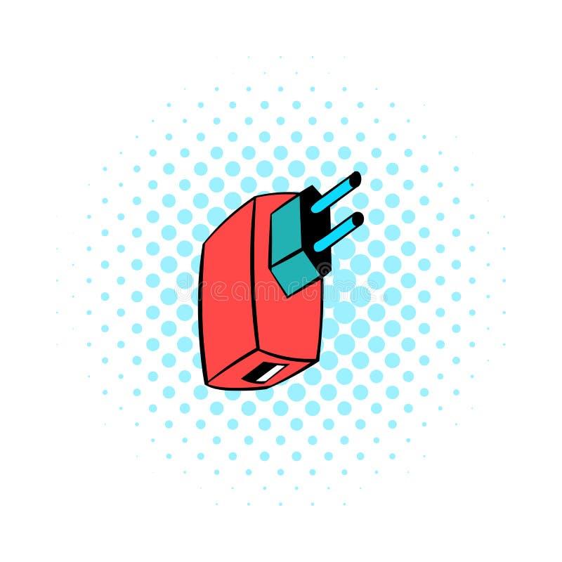 电力适配器象,漫画样式 向量例证