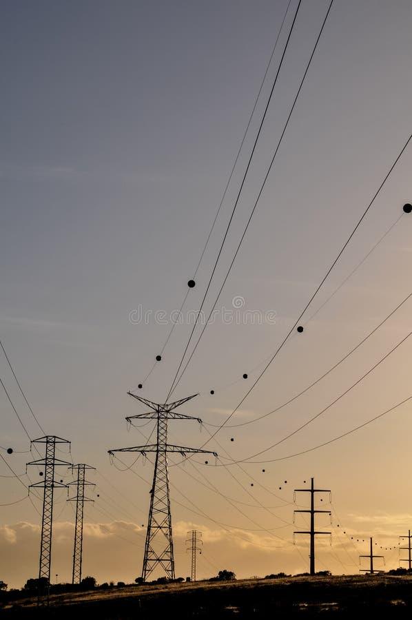 电力量定向塔 库存照片