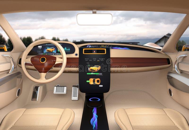 电动车显示充电信息的中心显示 库存例证