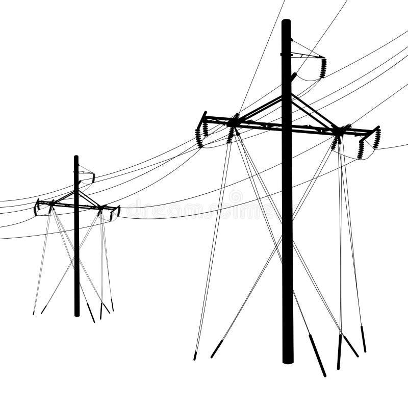 电压输电线 皇族释放例证