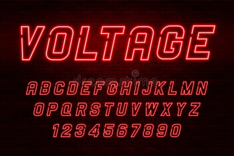 电压霓虹灯字母表,现实额外发光的字体 皇族释放例证