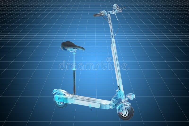 电反撞力滑行车形象化3d cad模型  3d?? 向量例证