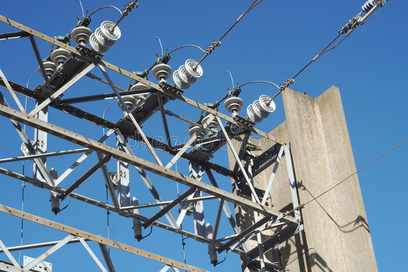 电变压器发电站高压结构 库存图片