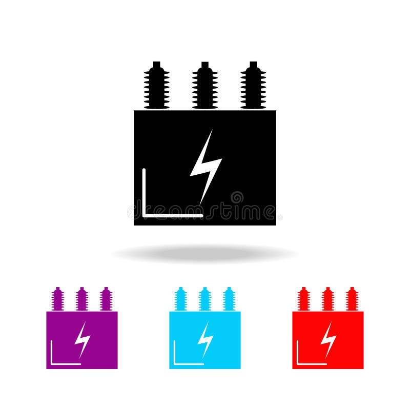 电变压器象 电的元素在多色的象的 优质质量图形设计象 我们的简单的象 向量例证
