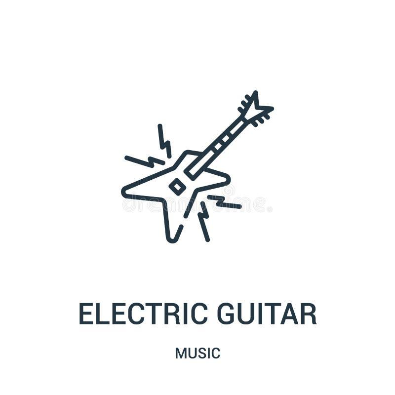 电吉他从音乐汇集的象传染媒介 稀薄的线电吉他概述象传染媒介例证 库存例证