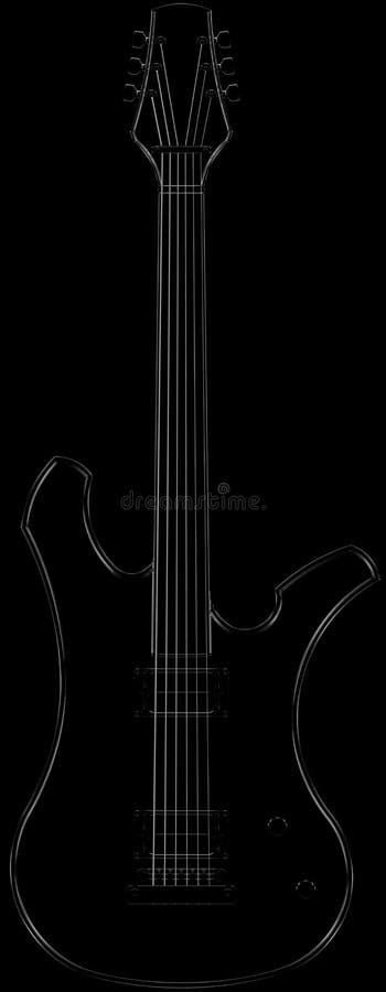电吉他形状黑白光泽 库存例证