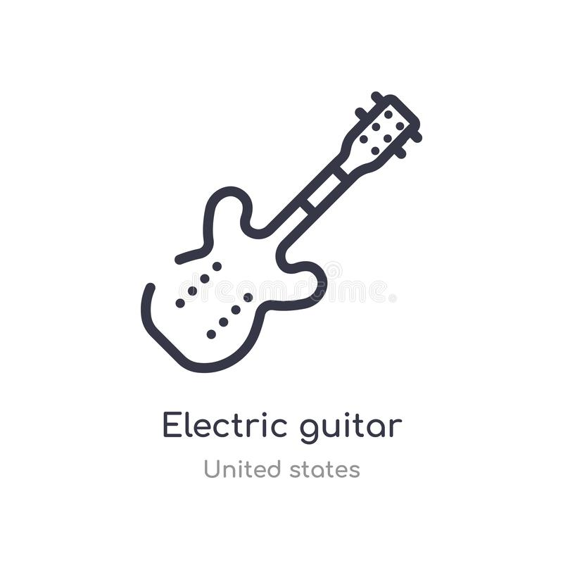 电吉他概述象 被隔绝的线从美国汇集的传染媒介例证 电编辑可能的稀薄的冲程 库存例证
