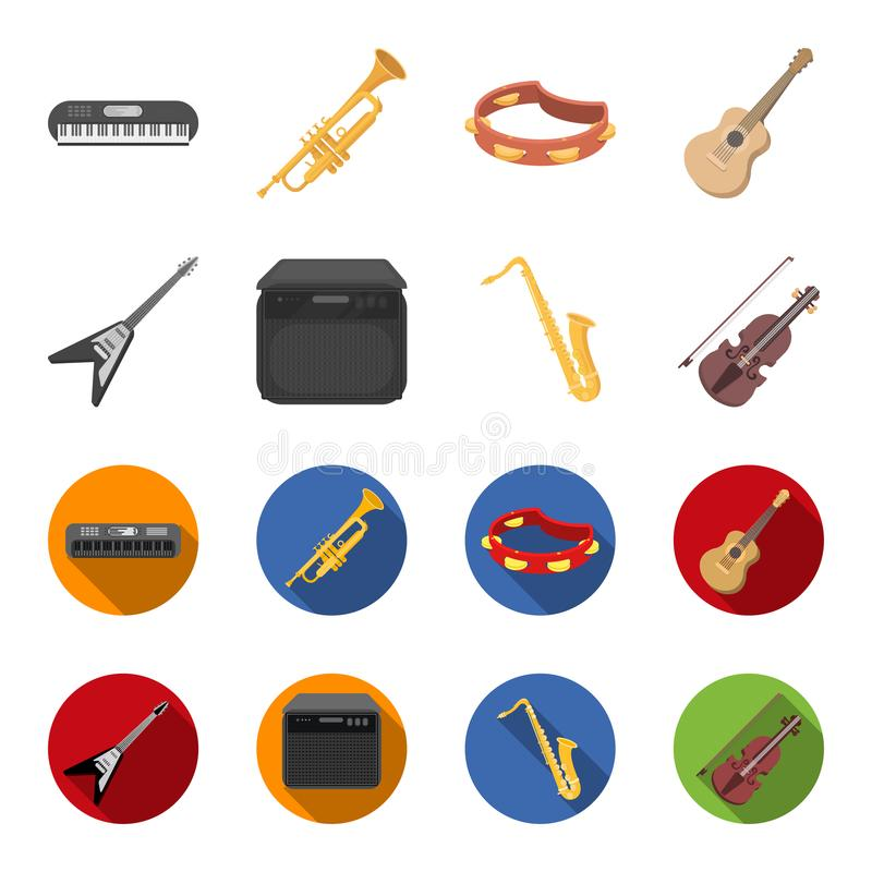 电吉他,扩音器,萨克斯管,小提琴 乐器设置了在动画片,平的样式传染媒介的汇集象 皇族释放例证