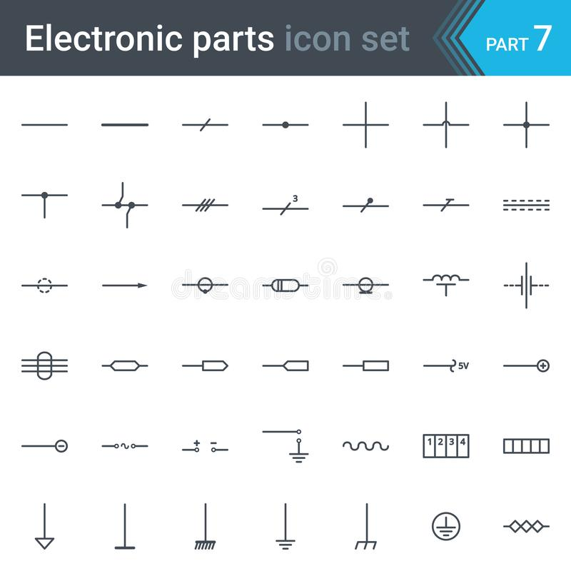 电和电子线路图线、导线、缆绳和电子指挥符号集  向量例证