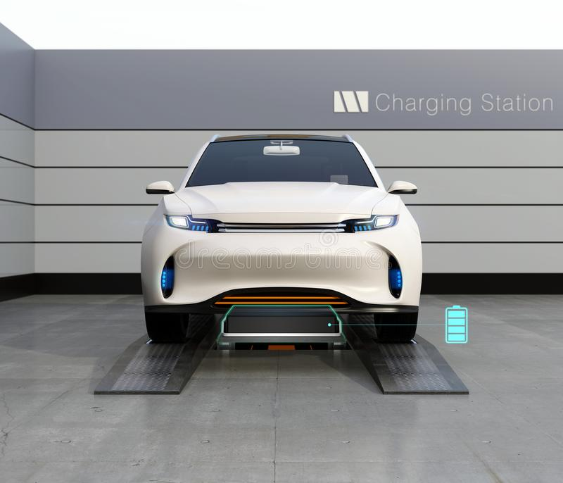 电在交换驻地的电池的SUV汽车交换低电池正面图  皇族释放例证