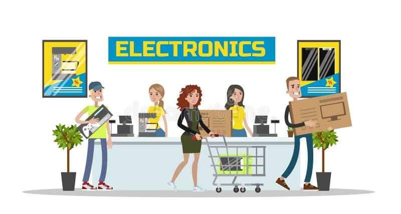 电子中心购物中心 库存例证