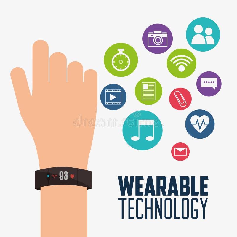 电子便携的技术smartwatch的设备 皇族释放例证