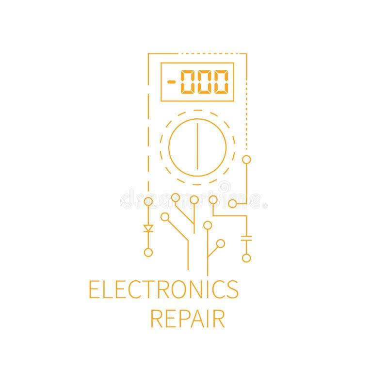 电子修理商标 皇族释放例证
