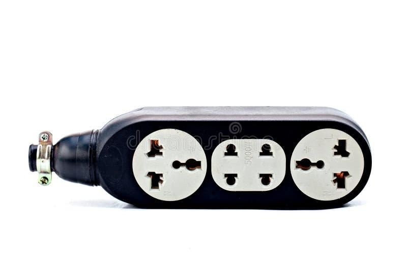 电子双重起重器白色塑料插口 库存图片