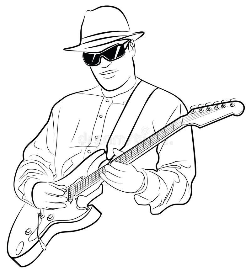 电子吉他人使用 库存例证