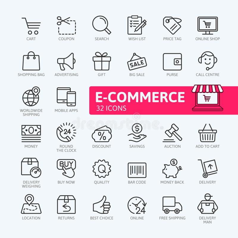 电子商务、网上购物和交付元素网象设置了-概述象集合 库存例证