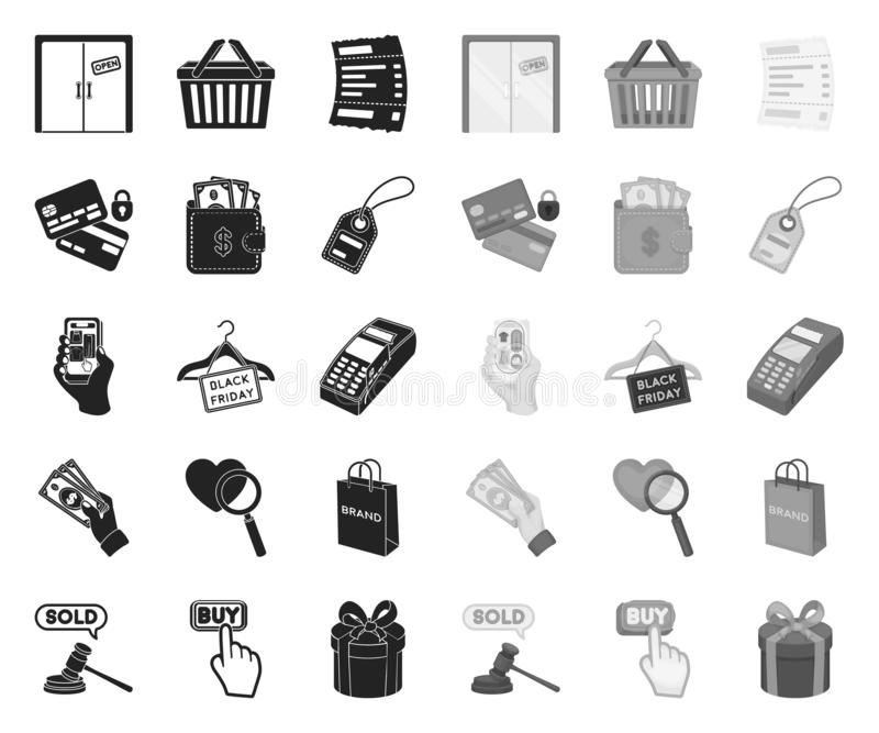 电子商务、购买和销售黑色 在集合收藏的单音象的设计 贸易和财务传染媒介标志股票网 库存例证