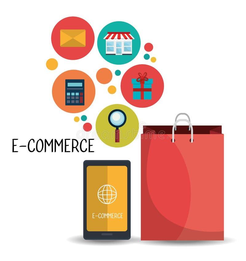 电子商务、购物和营销设计 库存例证