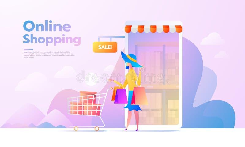 电子商务买家 互联网项目 在网上购物横幅的年轻女人 r r 向量例证