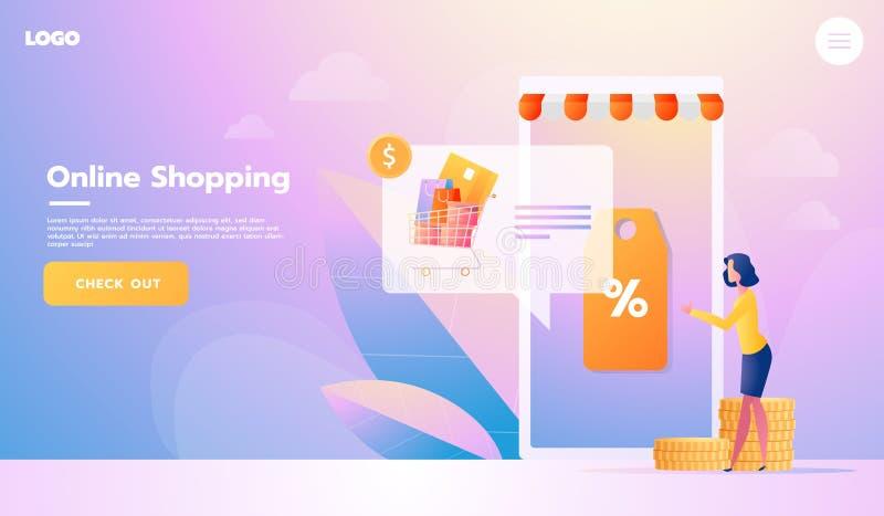 电子商务买家 互联网项目 横幅年轻女人购物onlinr r r 皇族释放例证