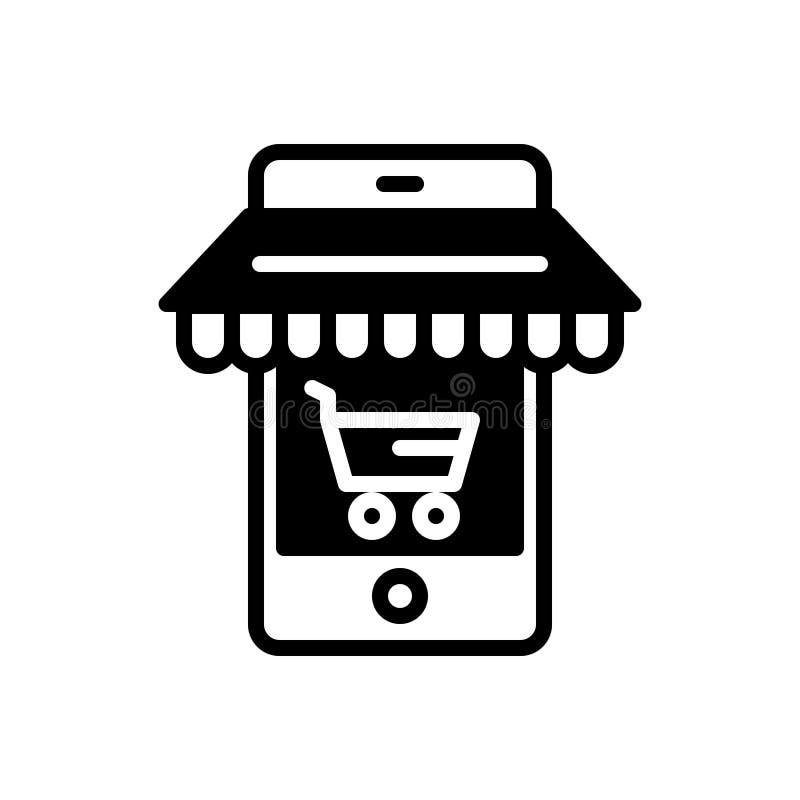 电子商务优选,推车和市场的黑坚实象 库存例证