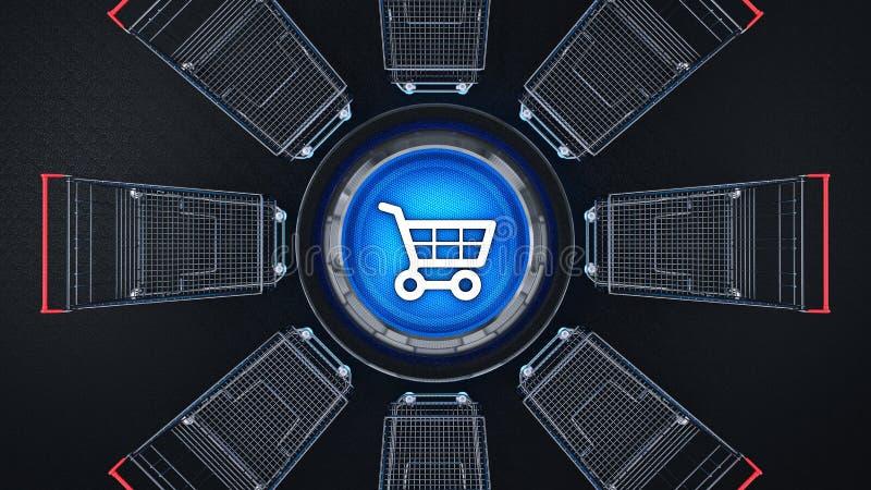 电子商务光滑的象购物汽车 3d 皇族释放例证