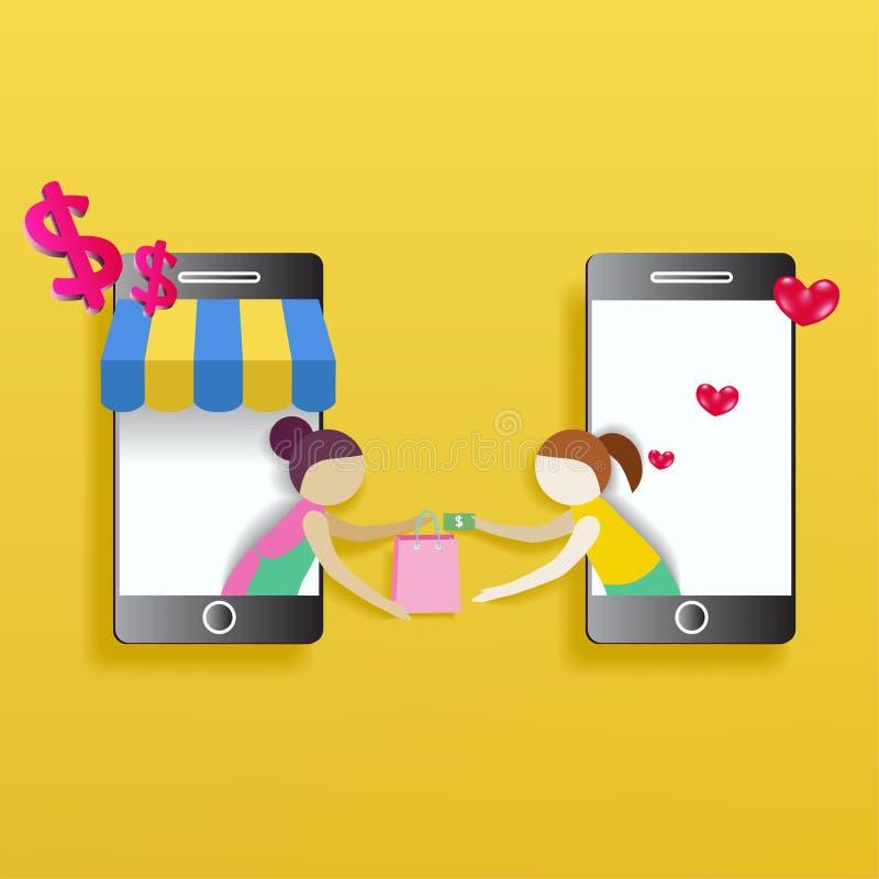 电子商务快速的交付平的概念 妇女购物onl 向量例证
