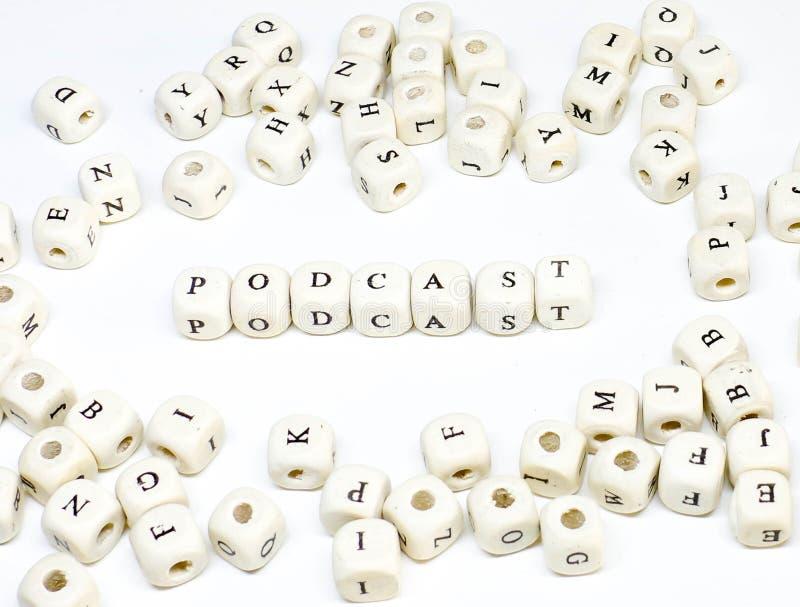 电子商务电子邮件博克的网上广告和社会媒介市场术语木abc播客 库存图片