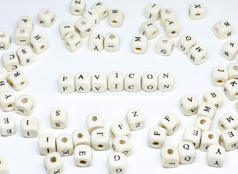 电子商务电子邮件博克的网上广告和社会媒介市场术语木abc favicon 库存照片