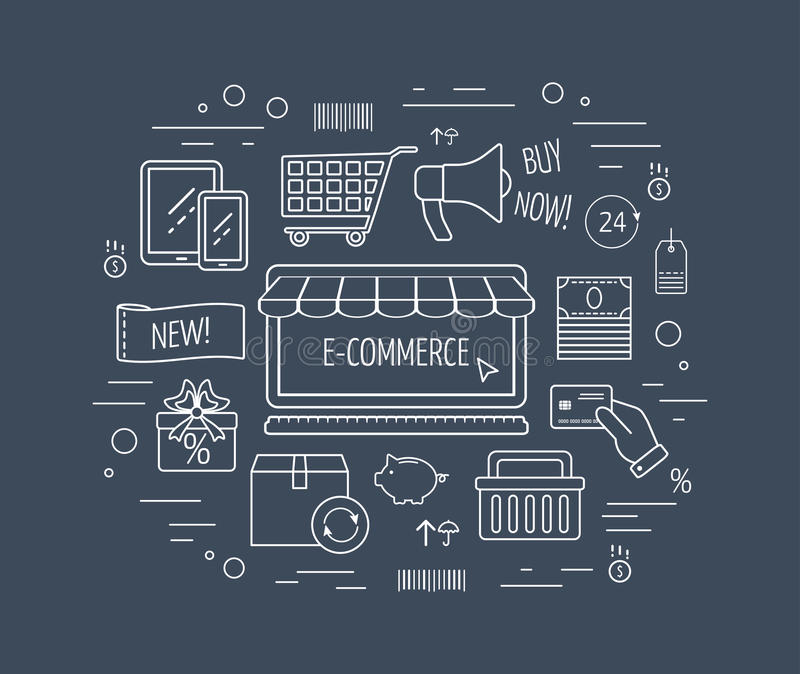 电子商务线象概念 排行事务、网发展和着陆页的象 平的设计 向量 向量例证