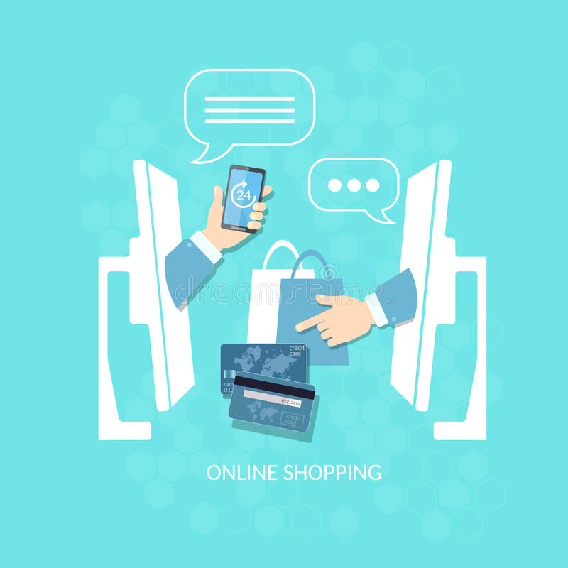 电子商务网上购物买卖的互联网付款 向量例证