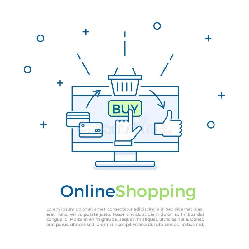 电子商务背景横幅 网上购物过程 导航网上行销和销售的横幅例证 向量例证